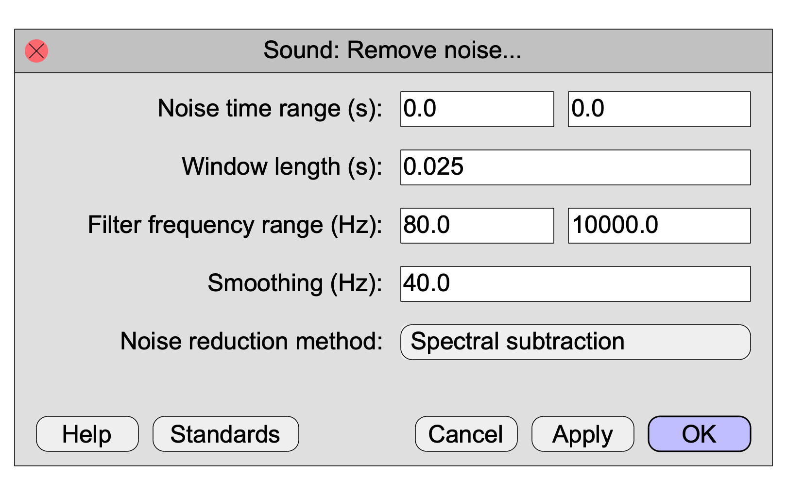 Sound: Remove noise